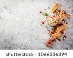 healthy breakfast and snack... | Shutterstock . vector #1066336394