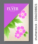 violet flowers on a flyer. can... | Shutterstock . vector #1066338821