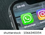 Small photo of Sankt-Petersburg, Russia, April 11, 2018: Whatsapp messenger application icon on Apple iPhone X smartphone screen close-up. WhatsApp messenger app icon. Social media icon. Social network