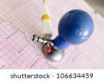 ecg electrode on fragment of...