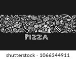 Seamless pattern. doodles pizza ...