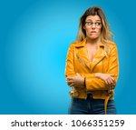 beautiful young woman nervous... | Shutterstock . vector #1066351259