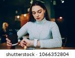 pensive teen girl looking at... | Shutterstock . vector #1066352804