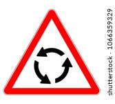 roundabout crossroad ahead  red ... | Shutterstock .eps vector #1066359329