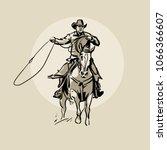 american cowboy riding horse...   Shutterstock .eps vector #1066366607