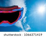 Small photo of Motorcycle driving glasses separated from the white background cli[ing part