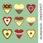 set of vintage hearts with...   Shutterstock . vector #1066376927