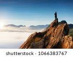 businessmen stand on high peaks ...   Shutterstock . vector #1066383767