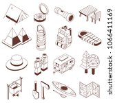 isometric camping icon set.... | Shutterstock .eps vector #1066411169