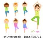 Children do yoga with a yoga instructor.Isolated on white background. Vector illusrtation