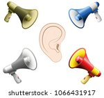 hearing damage caused by too... | Shutterstock .eps vector #1066431917