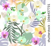 light tropical background with... | Shutterstock .eps vector #1066437731