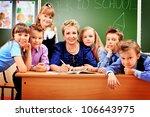 happy schoolchildren with their ... | Shutterstock . vector #106643975