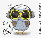 Stock vector cool cartoon cute owl with sun glasses 1066441364