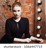 young stylish woman in make up... | Shutterstock . vector #1066447715