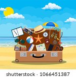open baggage  luggage ... | Shutterstock .eps vector #1066451387
