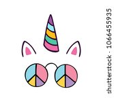 funny unicorn with hippie... | Shutterstock .eps vector #1066455935
