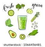 healthy natural food. green... | Shutterstock .eps vector #1066456481
