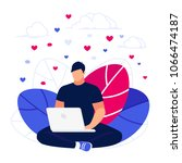 user. young man using laptop... | Shutterstock .eps vector #1066474187