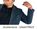 fat businessman in suit show...