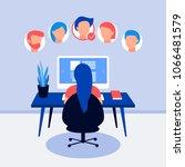 resume on laptop screen. hr... | Shutterstock .eps vector #1066481579