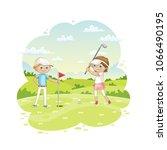 children plays golf on a golf... | Shutterstock .eps vector #1066490195