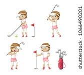 girl playing golf. funny... | Shutterstock .eps vector #1066490201