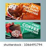 coffee discount flyer voucher... | Shutterstock .eps vector #1066491794
