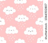 cute cartoon face cloud... | Shutterstock .eps vector #1066502807