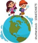 children walking on planet. ...   Shutterstock .eps vector #1066524875