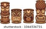 cartoon tiki totems of... | Shutterstock .eps vector #1066536731