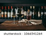 different glasses of wine... | Shutterstock . vector #1066541264