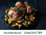 whole baked chicken with... | Shutterstock . vector #1066541789