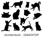 set of vector cat silhouettes | Shutterstock .eps vector #106654769