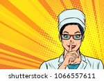 nurse asks for silence  gesture ... | Shutterstock .eps vector #1066557611