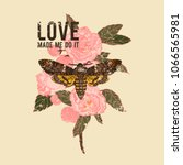 love made me do it slogan.... | Shutterstock .eps vector #1066565981