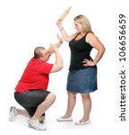 Fighting couple. Home violence and abuse concept. - stock photo