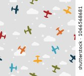 seamless pattern with airplanes ... | Shutterstock .eps vector #1066568681