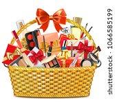 vector gift basket with makeup...   Shutterstock .eps vector #1066585199