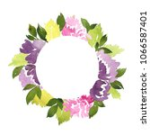 watercolor circle frame of... | Shutterstock . vector #1066587401