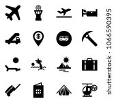 solid vector icon set   plane... | Shutterstock .eps vector #1066590395