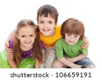 Childhood friends portrait - kids bracing each other, isolated - stock photo