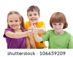 Friends forever - childhood pals showing thumbs up signs, isolated - stock photo