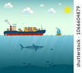 vector illustration of ship and ... | Shutterstock .eps vector #1066604879