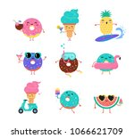 Stock vector sweet summer cute ice cream watermelon and donuts characters make fun pool sea and beach 1066621709