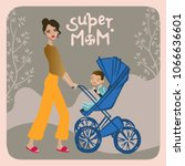 a young mother with a stroller. ... | Shutterstock .eps vector #1066636601