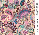 paisley ethnic seamless pattern ... | Shutterstock .eps vector #1066652051