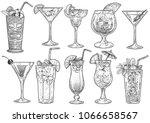 cocktail illustration  drawing  ... | Shutterstock .eps vector #1066658567