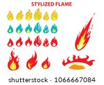 set of flame in different... | Shutterstock .eps vector #1066667084