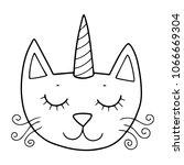 cute caticorn illustration for... | Shutterstock .eps vector #1066669304